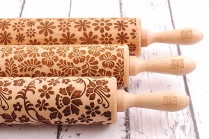 FLORAL - set of 3 embossing rolling pins